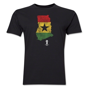 Ghana 2014 FIFA World Cup Brazil(TM) Distressed Men's Premium Flag in Country T-Shirt (Black)