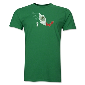 Mexico 2014 FIFA World Cup Brazil(TM) Distressed Men's Premium Flag in Country T-Shirt (Green)