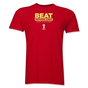 Spain Beat Ntherlands 2014 FIFA World Cup Brazil(TM) Men's Premium T-Shirt (Red)