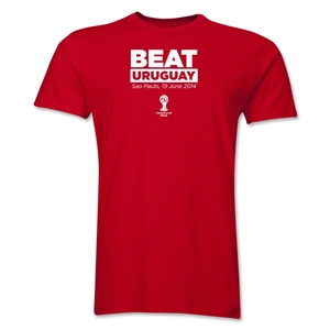 England Beat Uruguay 2014 FIFA World Cup Brazil(TM) Men's Premium T-Shirt (Red)