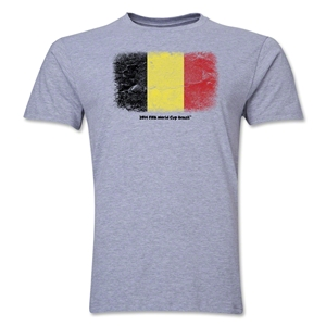 Belgium FIFA World Cup Brazil(TM) Men's Premium Flag T-Shirt (Gray)