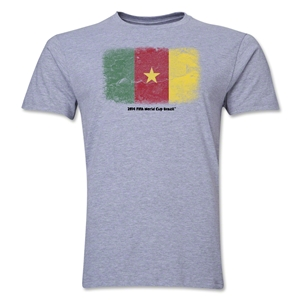 Cameroon FIFA World Cup Brazil(TM) Men's Premium Flag T-Shirt (Gray)