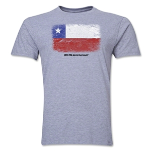 Chile FIFA World Cup Brazil(TM) Men's Premium Flag T-Shirt (Gray)