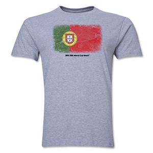 Portugal FIFA World Cup Brazil(TM) Men's Premium Flag T-Shirt (Gray)