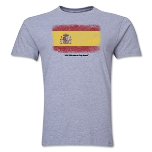 Spain FIFA World Cup Brazil(TM) Men's Premium Flag T-Shirt (Gray)