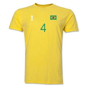 Brazil FIFA World Cup Brazil(TM) Men's Number 4 T-Shirt (Yellow)