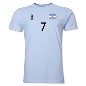 Argentina FIFA World Cup Brazil(TM) Men's Number 7 T-Shirt (Sky)