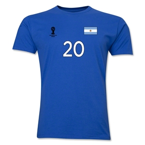 Argentina FIFA World Cup Brazil(TM) Men's Number 20 T-Shirt (Royal)