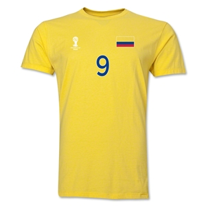 Colombia FIFA World Cup Brazil(TM) Men's Number 9 T-Shirt (Yellow)