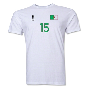 Algeria FIFA World Cup Brazil(TM) Men's Number 15 T-Shirt (White)