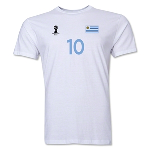 Uruguay FIFA World Cup Brazil(TM) Men's Number 10 T-Shirt (White)