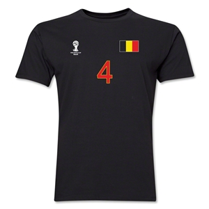 Belgium FIFA World Cup Brazil(TM) Men's Number 4 T-Shirt (Black)