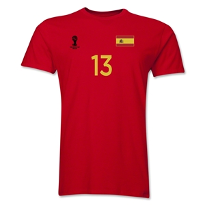 Spain FIFA World Cup Brazil(TM) Men's Number 13 T-Shirt (Red)