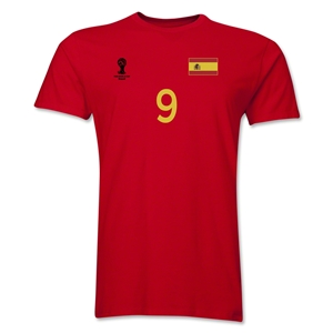 Spain FIFA World Cup Brazil(TM) Men's Number 9 T-Shirt (Red)