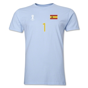 Spain FIFA World Cup Brazil(TM) Men's Number 1 T-Shirt (Red)