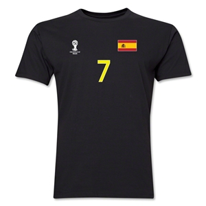 Spain FIFA World Cup Brazil(TM) Men's Number 7 T-Shirt (Black)