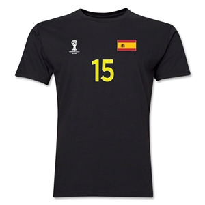 Spain FIFA World Cup Brazil(TM) Men's Number 15 T-Shirt (Black)