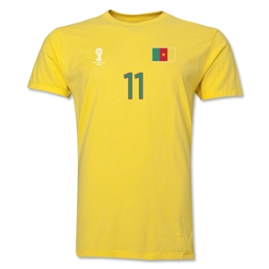 Cameroon FIFA World Cup Brazil(TM) Men's Number 11 T-Shirt (Yellow)