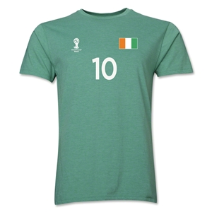 Cote d'Ivoire FIFA World Cup Brazil(TM) Men's Number 10 T-Shirt (Heather Green)