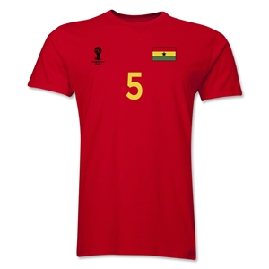 Ghana FIFA World Cup Brazil(TM) Men's Number 5 T-Shirt (Red)