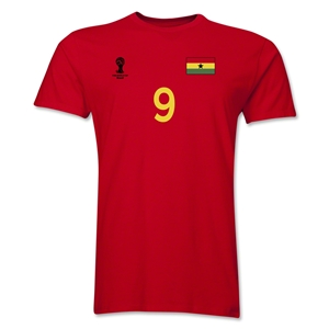 Ghana FIFA World Cup Brazil(TM) Men's Number 9 T-Shirt (Red)