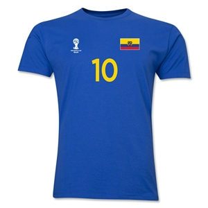 Ecuador FIFA World Cup Brazil(TM) Men's Number 10 T-Shirt (Royal)