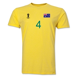 Australia FIFA World Cup Brazil(TM) Men's Number 4 T-Shirt (Yellow)