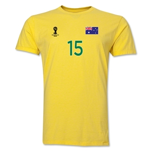 Australia FIFA World Cup Brazil(TM) Men's Number 15 T-Shirt (Yellow)