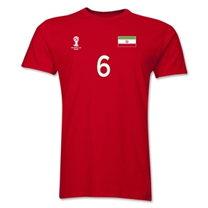Iran FIFA World Cup Brazil(TM) Men's Number 6 T-Shirt (Red)