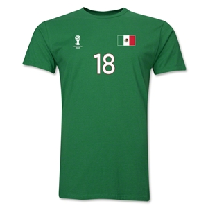 Mexico FIFA World Cup Brazil(TM) Men's Number 18 T-Shirt (Green)