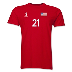 USA FIFA World Cup Brazil(TM) Men's Number 21 T-Shirt (Red)