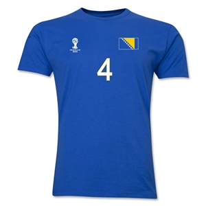 Bosnia-Herzegovina FIFA World Cup Brazil(TM) Men's Number 4 T-Shirt (Royal)