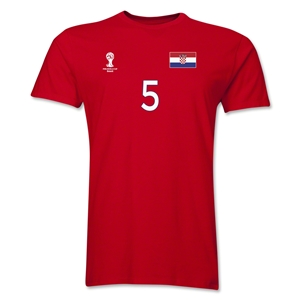 Croatia FIFA World Cup Brazil(TM) Men's Number 5 T-Shirt (Red)