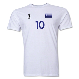 Greece FIFA World Cup Brazil(TM) Men's Number 10 T-Shirt (White)