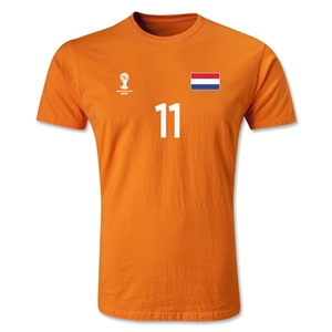 Netherlands FIFA World Cup Brazil(TM) Men's Number 11 Premium T-Shirt (Orange)