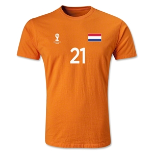 Netherlands FIFA World Cup Brazil(TM) Men's Number 21 Premium T-Shirt (Orange)