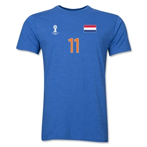 Netherlands FIFA World Cup Brazil(TM) Men's Number 11 Premium T-Shirt (Heather Royal)