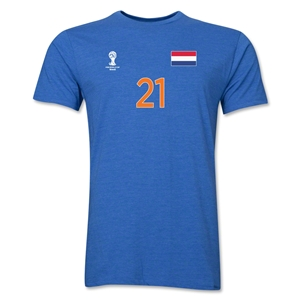 Netherlands FIFA World Cup Brazil(TM) Men's Number 21 Premium T-Shirt (Heather Royal)
