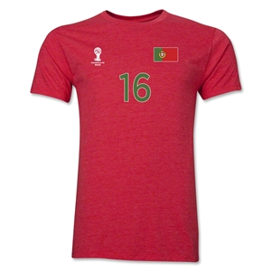 Portugal FIFA World Cup Brazil(TM) Men's Number 16 Premium T-Shirt (Heather Red)