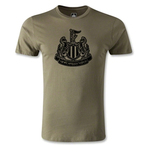 Newcastle United Distressed Crest Men's Fashion T-Shirt (Olive Green)