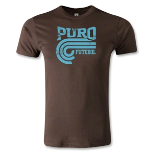 Puro Futebol Distressed College Men's Fashion T-Shirt (Brown)
