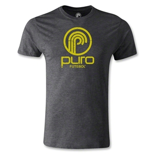 Puro Futebol Distressed Circle Logo Men's Fashion T-Shirt (Dark Gray)