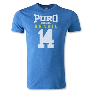 Puro Futebol Distressed Brasil 14 Men's Fashion T-Shirt (Royal)