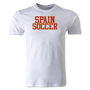 Spain Soccer Supporter Men's Fashion T-Shirt (White)