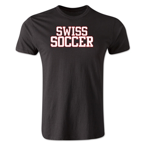 Swiss Soccer Supporter Men's Fashion T-Shirt (Black)