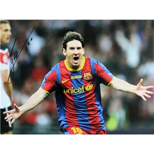 ICONS Signed Leo Messi Barcelona 2011 Final Goal Photo