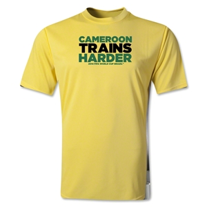 Cameroon 2014 FIFA World Cup Brazil(TM) Men's Trains Harder T-Shirt (Yellow)