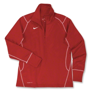 Nike Women's 1/4 Zip Performance Thermal Top (Red)