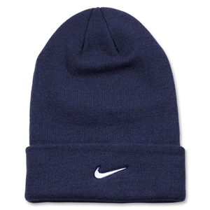 Nike Stock Cuffed Knit Beanie (Navy/White)