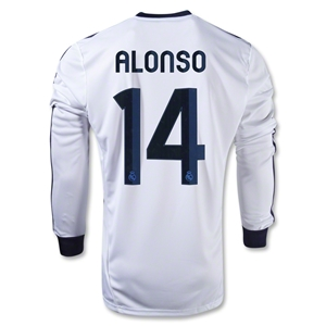 Real Madrid 12/13 ALONSO LS Home Soccer Jersey
